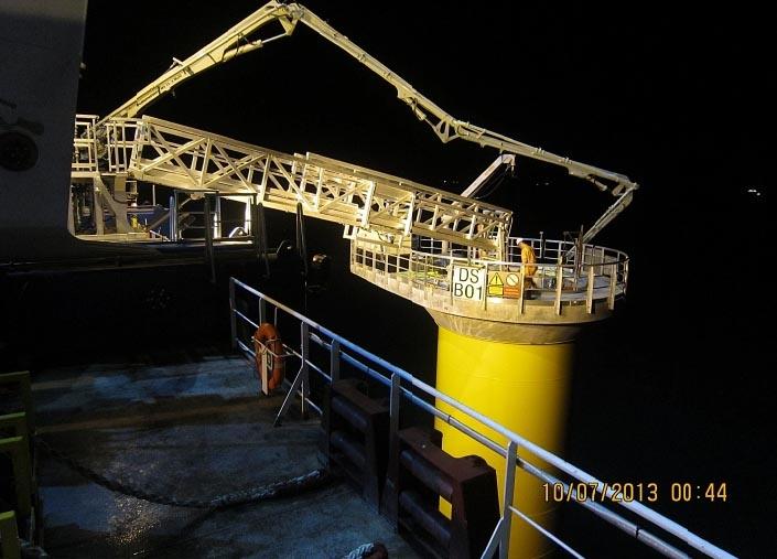 Tyne Gangway Gallery Hydraulic Offshore Windturbine Access Gangway Night Time Working