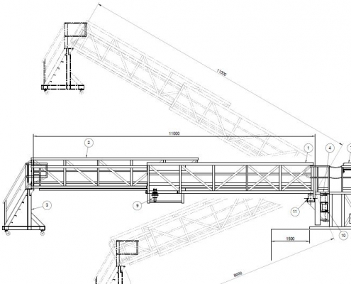 Self-leveller hydraulic deployed drawing